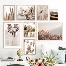 Toile d'art mural, peinture de sable à la main, fleur de roseau, Dune, oiseau, affiches et imprimés nordiques, photos murales pour salon, décoration murale