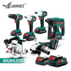 LANNERET 6 in 1 Elektrische Bürstenlosen Winkel Grinder Akkuschrauber Cordless Wrench 20V Batterie 4,0 Ah Cordless Winkel Grinder