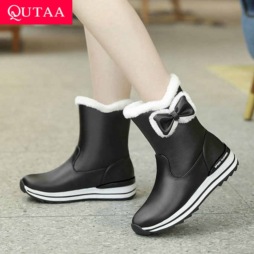 QUTAA 2020 tatlı kelebek-düğüm kar botları platformu sıcak kürk kış kadın ayakkabı PU deri takozlar üzerinde kayma yarım çizmeler boyutu 34-43