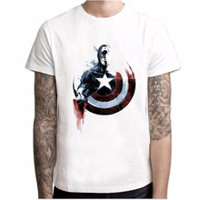 Fashion Captain America T-shirt Mannen Anime Comic T-shirt Korte Mouw O-hals Mode Marvel Cool Tshirt Mannen Hipster Straat Tops(China)