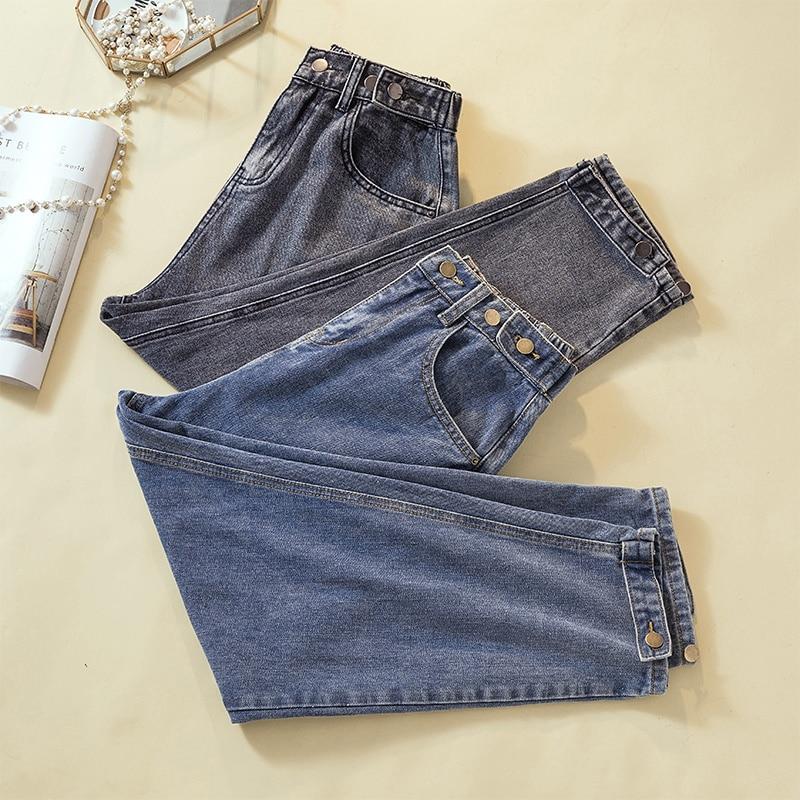 Jeans For Women Plus Size Autumn Winter  Velvet  Thicken High Waiste  Loose Softener Ankle-length Mom Denim Harem Pants  4xl 5xl