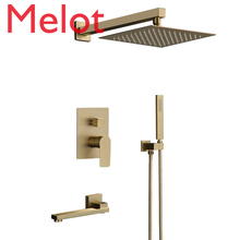 Bathroom Shower Set Brushed Gold Square Rainfall Shower Faucet Wall or Ceiling Wall Mounted Shower Mixer 8-12 Shower Head luxury oil brushed shower set rainfall shower set luxury antique brushed shower faucet mixer tap wall shower set bathroom kit