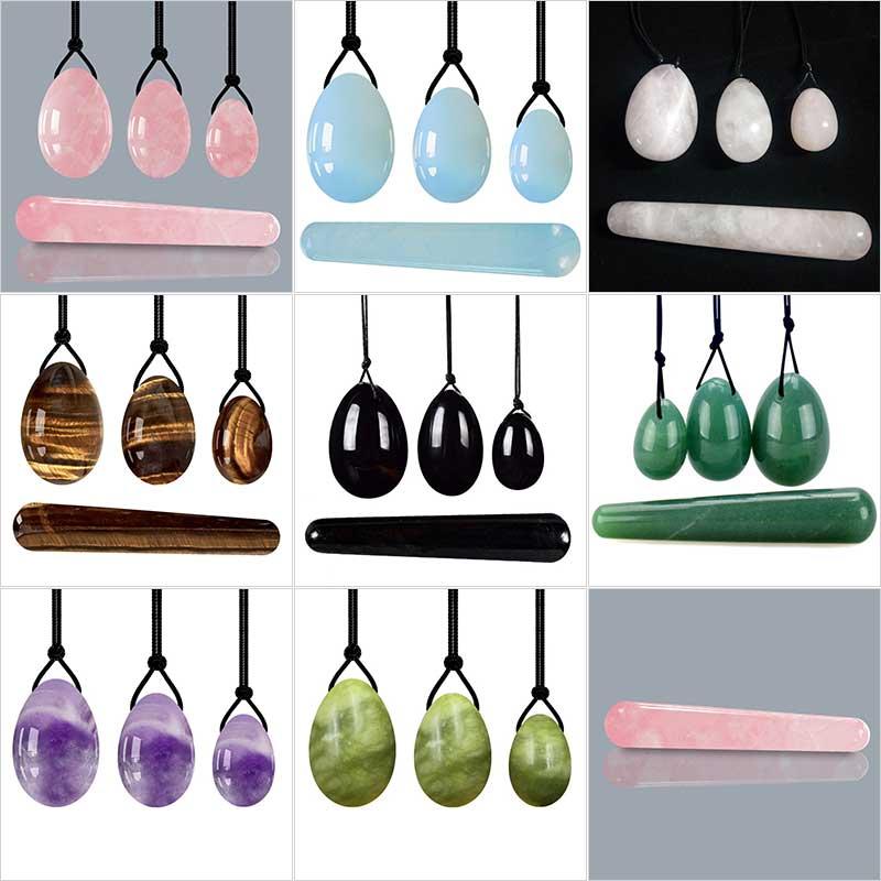 Rose Quartz Yoni Egg Set Natural Jade Eggs Women Kegel Exerciser Vaginal Muscles Tightening Ball Massage Yoni Wand Jade Massager