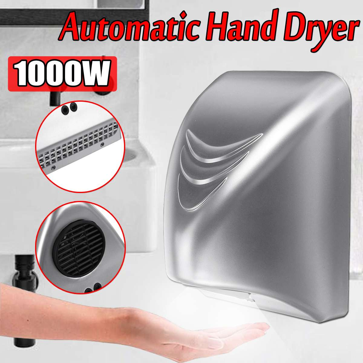 Powerful 1000W Hand Dryer Hotel Commercial Hand Dryer Electric Automatic Induction Hands Drying Device Bathroom Winding Machine