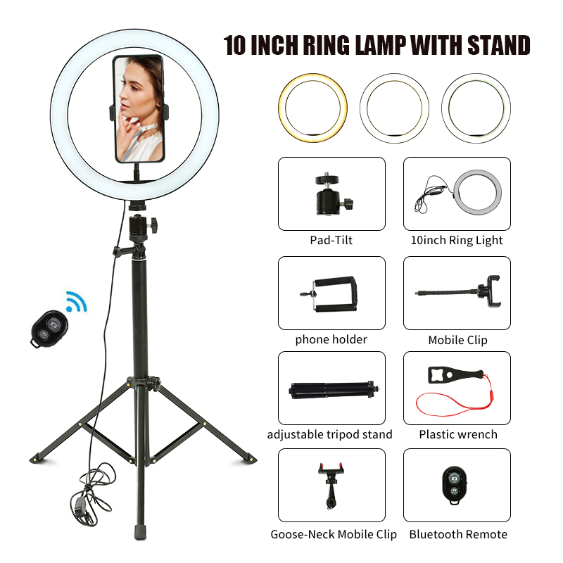Led Ring Light With Stand | 10 Inch LED Ring Light With Stand Youtube Live Video Photography Lighting USB Ring Lamp With Tripod Selfie LED Fill Light