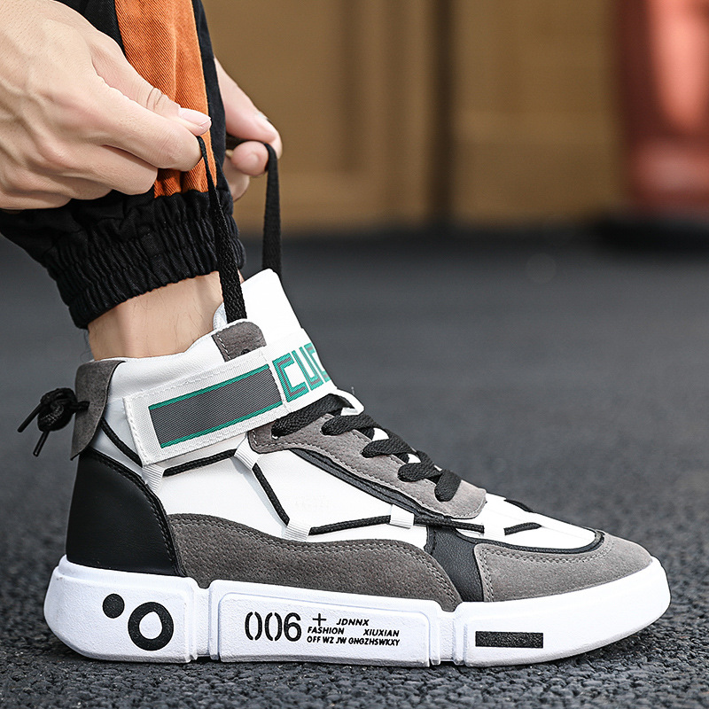 Men Casual Shoes Hard-Wearing High-top Shoes Men Sneaker Lace-up Trend Men Flats Shoes Breathable Male Flat