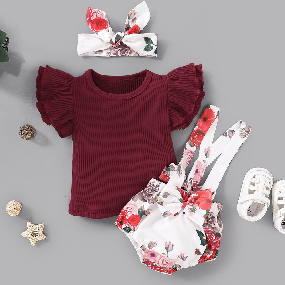 Pudcoco Newborn Baby Girl Clothes Solid Color Knitted Cotton Fly Sleeve Tops Flower Print Strap Shorts Headband 3Pcs Outfits Set
