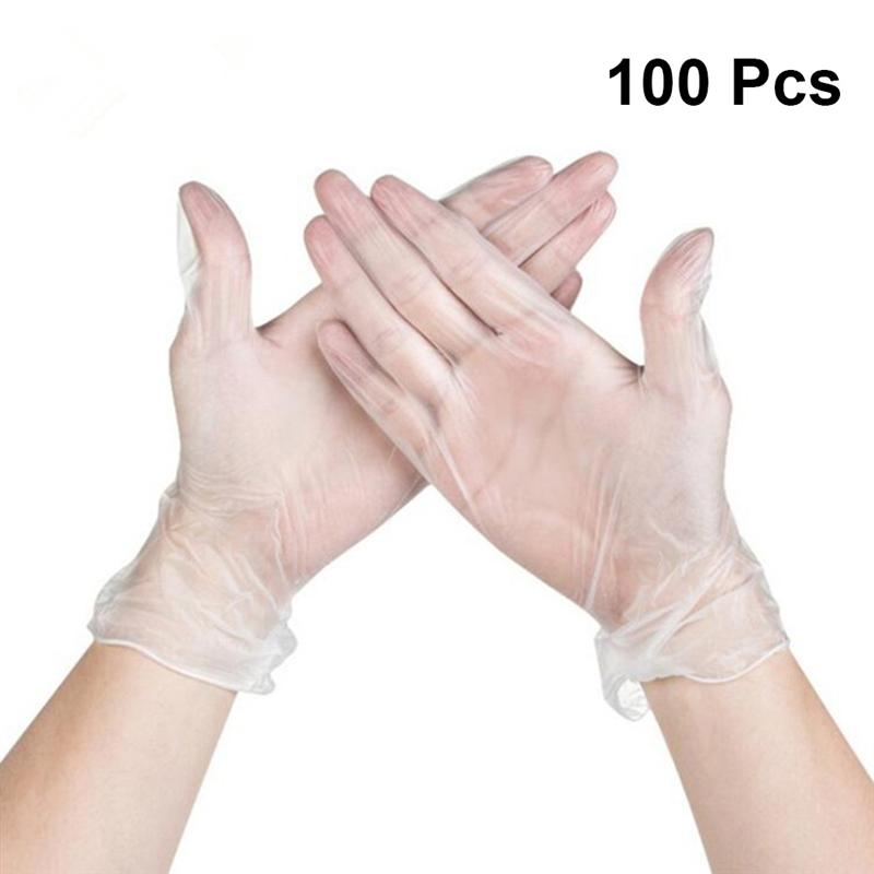 100pcs Transparent PVC Disposable Tattoo Gloves Home Use Medical Cleaning Kitchen Cooking Glove Size S M L XL