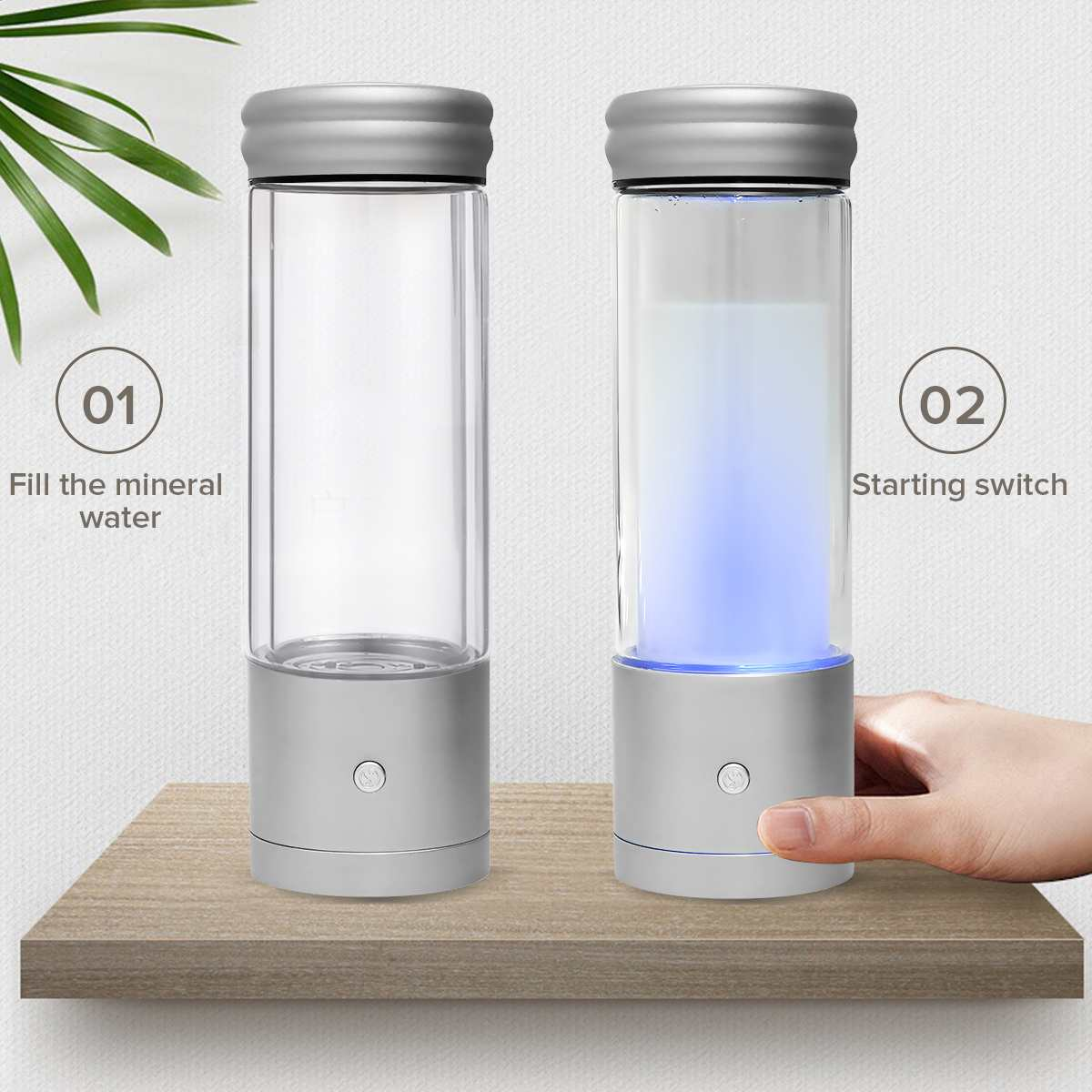 AUGIENB 350ml H2 Rich Hydrogen Water Bottle Alkaline Ionizer Generator Healthy Anti-Aging USB Rechargeable With RGB LED Light