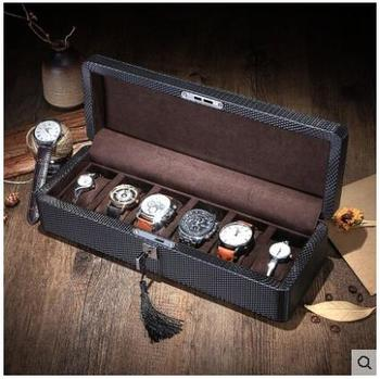 fashion 6- slot wooden structure  leather watches box watch cases for watches organizador watch gift box  SBH014