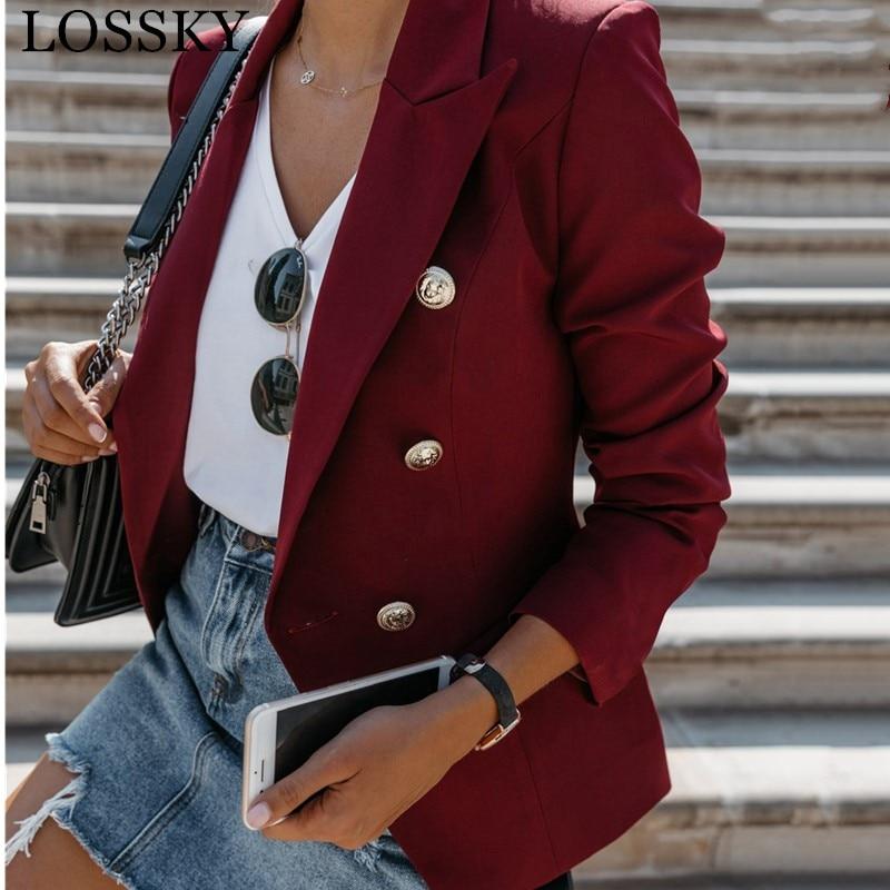 TOP QUALITY Slim Fashion 2019 Designer Blazer Jacket Women's Double Breasted Metal Lion Buttons Stylish Career Red Blazer Jacket