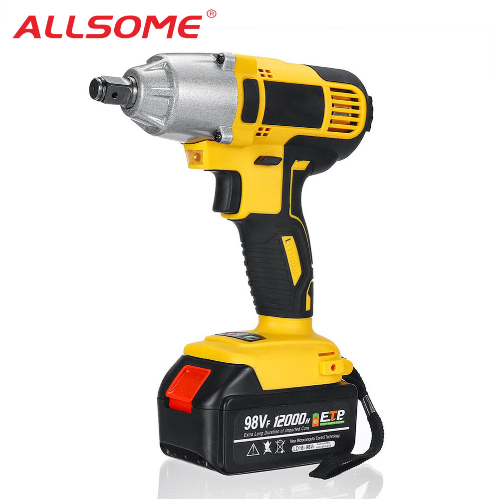 ALLSOME 98VF 320Nm Electric Impact Wrench Rechargeable 1 2 Socket Wrench Power Tool Cordless HT2786