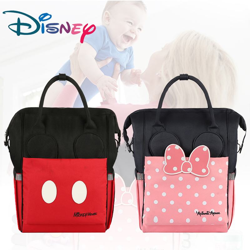 Disney Diaper Bag Backpack Large Capacity Maternity Mummy Bag Travel Backpack Baby Care Baby Nappy Bag USB Bottle Heating 2019