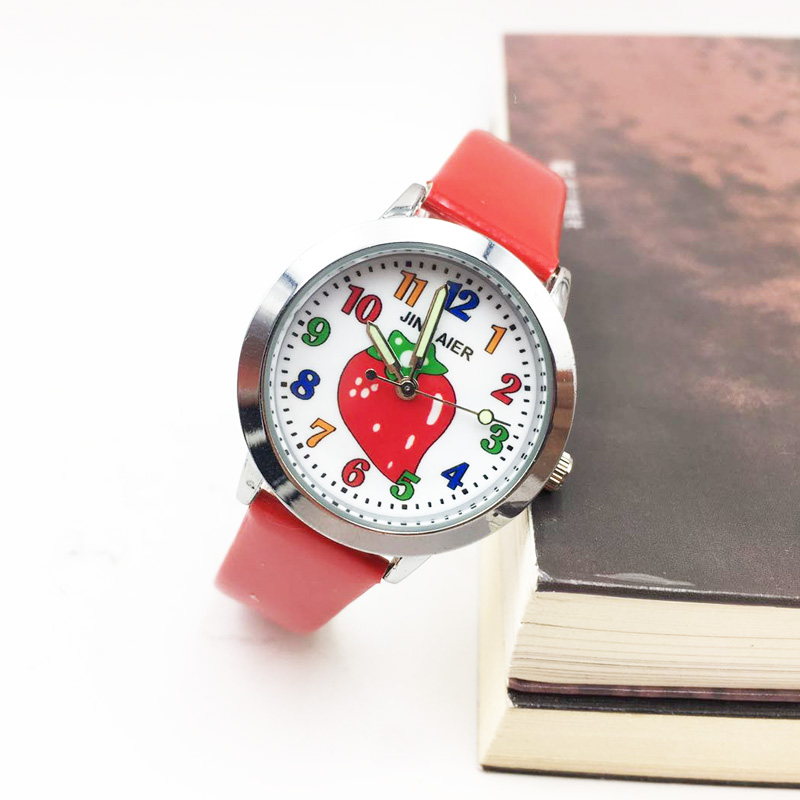 Children's Watches for Girls Boy Colorful Strawberry Pattern Quartz Watch Kids Student Fashion Wristwatches Female Ladies Clock