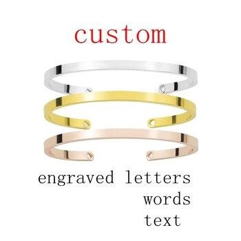 Silver Gold Rose Cuff bracelet Custom Engraved Words Letters Text Adjustable Open Bracelet