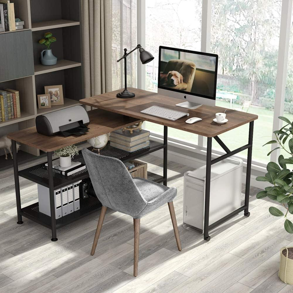 Tribesigns Modern L-Shaped Desk With Storage Shelves, 360°Rotating Desk Corner Computer Desk Study Writing Table Workstation Wit