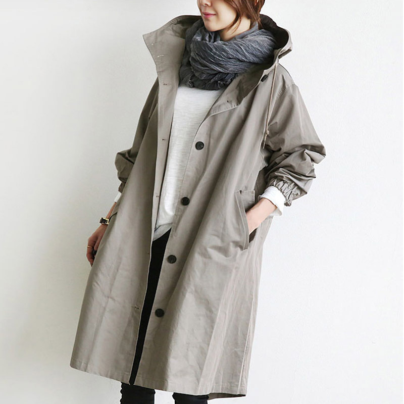 2019 New Solid Color Long Coat Casual Korean Hooded Collar Loose Autumn Winter Women Trench Plus Size Simple Women Coats