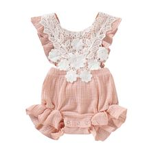 Летняя одежда для новорожденных девочек кружевной комбинезон
