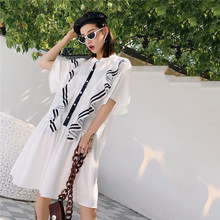 LANMREM Solid Color Short-sleeved Stitching Striped Ruffled Woman Dress Casual Simple Fashion 2019 Summer Dresses New TV528(China)