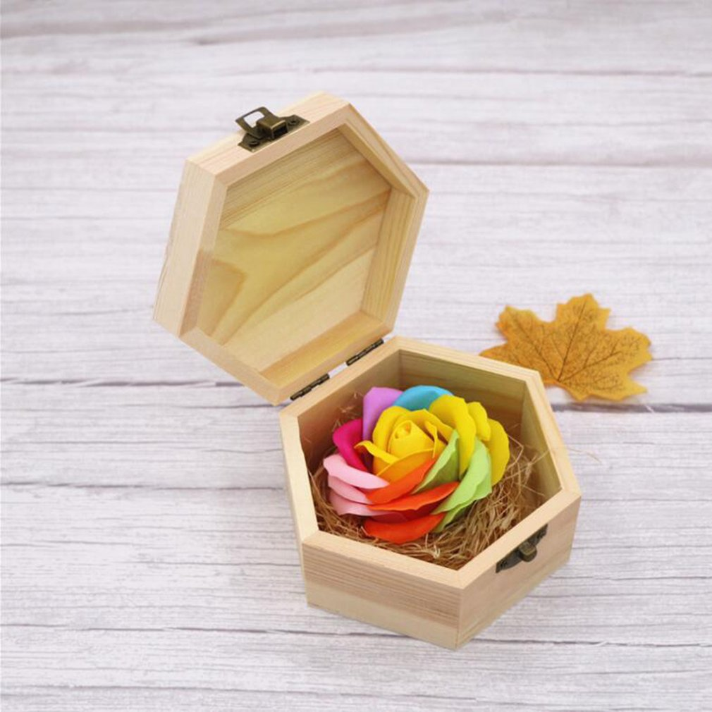 Soft Surface Handmade Wood Carving Box Lovely Soap Flowers Rose Gift Hexagon Box For Birthday Girlfriend's Teacher's Gifts
