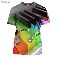 LBG 2019 new 3D printing piano casual T-shirt men and women fashion Harajuku short-sleeved outdoor gorgeous