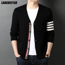 Top qualité nouvelle automne hiver marque mode hommes tricotés Cardigan pull noir coréen manteaux décontractés veste vêtements pour hommes 2021