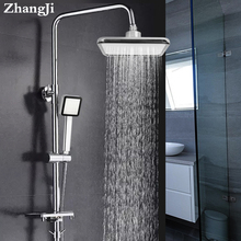 ZhangJi Square 8 Top Spray & High Pressure Water Saving shower Nozzle Handhold Shower head ABS Chrome Rainfall Set