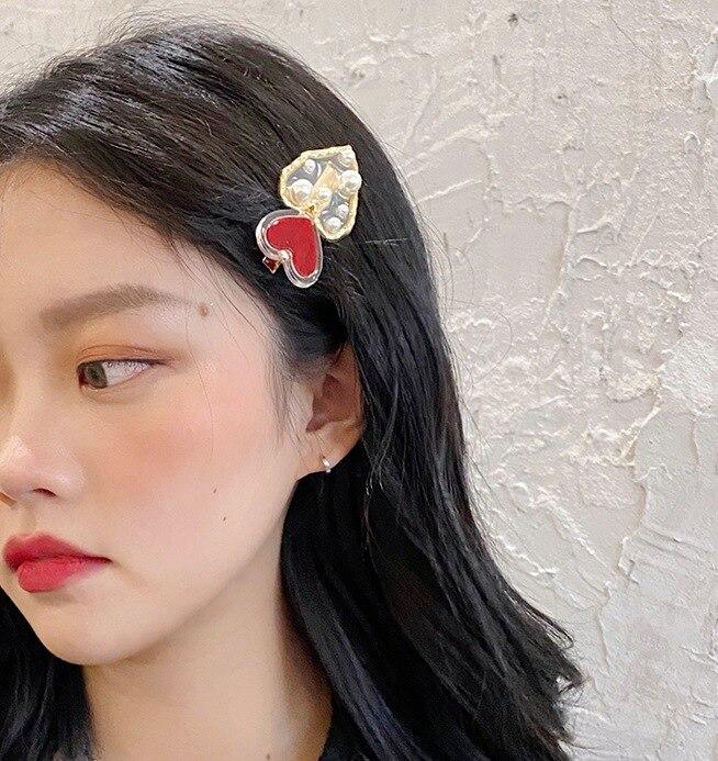 Korean Red Love Pearl Hair Clip Japanese Duck-billed Clip Headdress Hair Pearl Clip Tool Accessories For Women Girls G0130