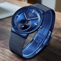 2020LIGE nowa kobiety zegarki Top marka luksusowe panie pasek z siatki Ultra cienki zegarek ze stali nierdzewnej wodoodporny zegar kwarcowy zegarek na rękę
