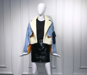 Image 5 - DEAT 2019 winter sheep fur turn down collar full sleeves denim blue patchwork spliced clothes letters printed coat trench WJ1020