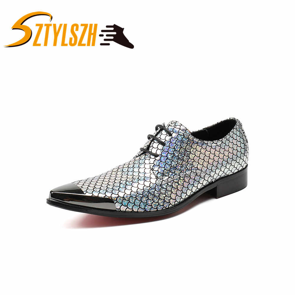 Ufficio affari Degli Uomini Pattini di Vestito Uomo Squame di Pesce Stingray Pelle Scarpe di Cuoio Scarpe Da Sposa Sociale Sapato Maschio Oxford Appartamenti di Scarpe