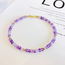 Natrual Shining Amethysts 3-4mm Faceted Beads 925 sterling silver Gold Color Fashion Bracelet 7-8 Dropshipping