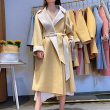 2019 Two-color Double-sided Coat Lazy Loose Profile Long Knee-length Wool Adjustable Waist Women
