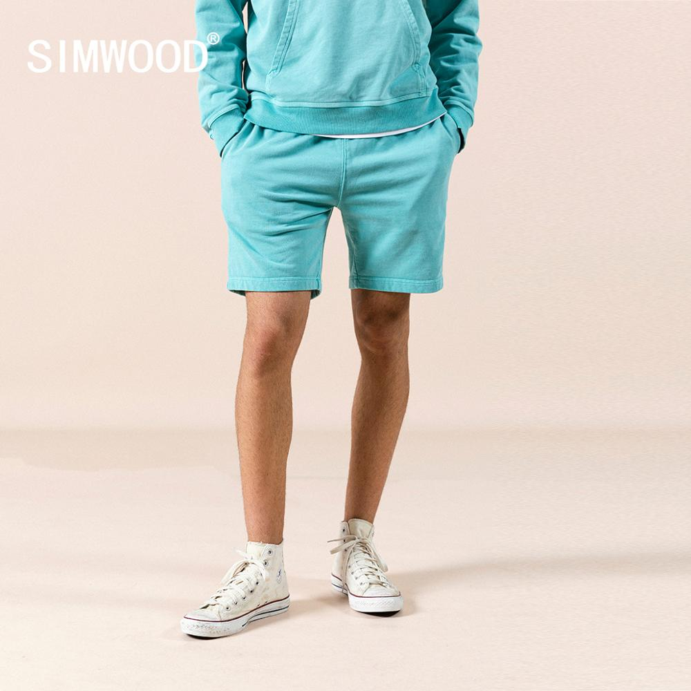 SIMWOOD 2020 Summer New Sweatpants Drawstring Shorts Garment Dyed Vintag Jogger 100% Cotton Jersey Shorts Comfortable Tracksuits