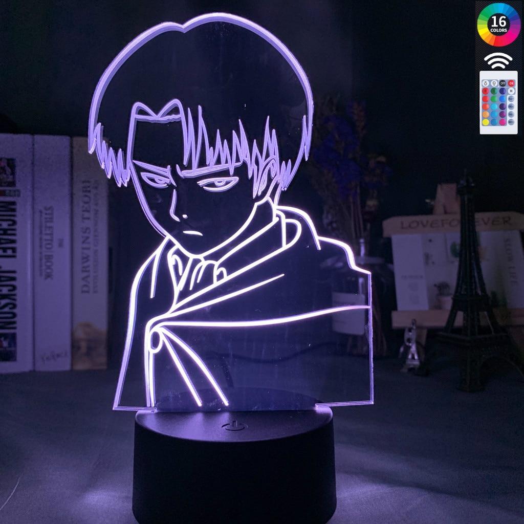 Captain Levi Ackerman Figure Led Night Light For Kids Child Bedroom Decor Nightlight Colorful Table Lamp Attack On Titan Gift