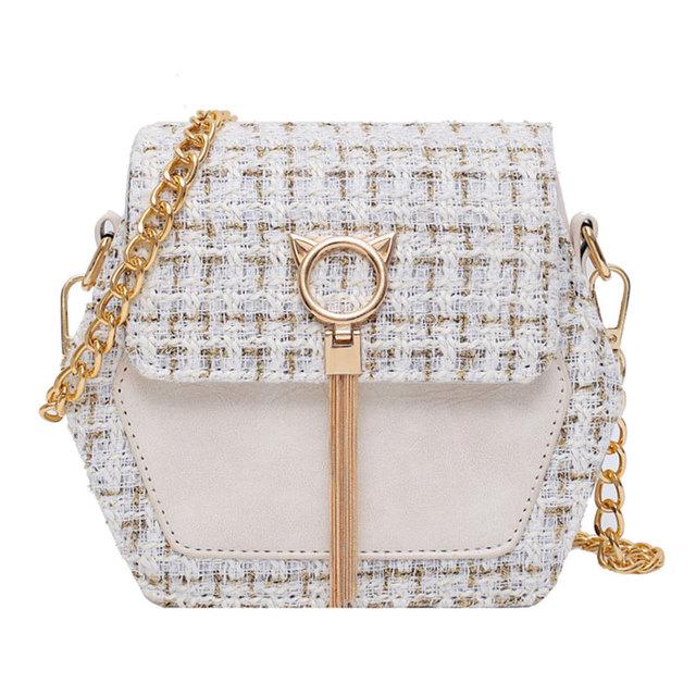 Elegant Female Tassel Square Bag 2019 Winter Fashion New High Quality Woolen Women's Designer Handbag Chain Shoulder Messenger