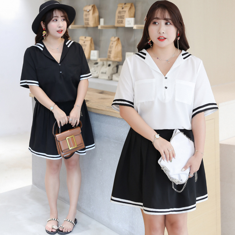 [Xuan Chen] Summer New Products Fat Sister Large Size Dress College Style By Age Set Hipster Two-Piece Set A220