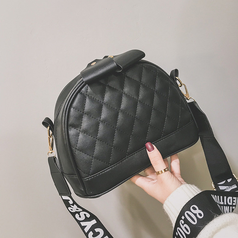 New Arrival Bag 2019 New Style Fashion Korean-style Rhombus Bow Simple Wide-Strap Shoulder CHIC Bag