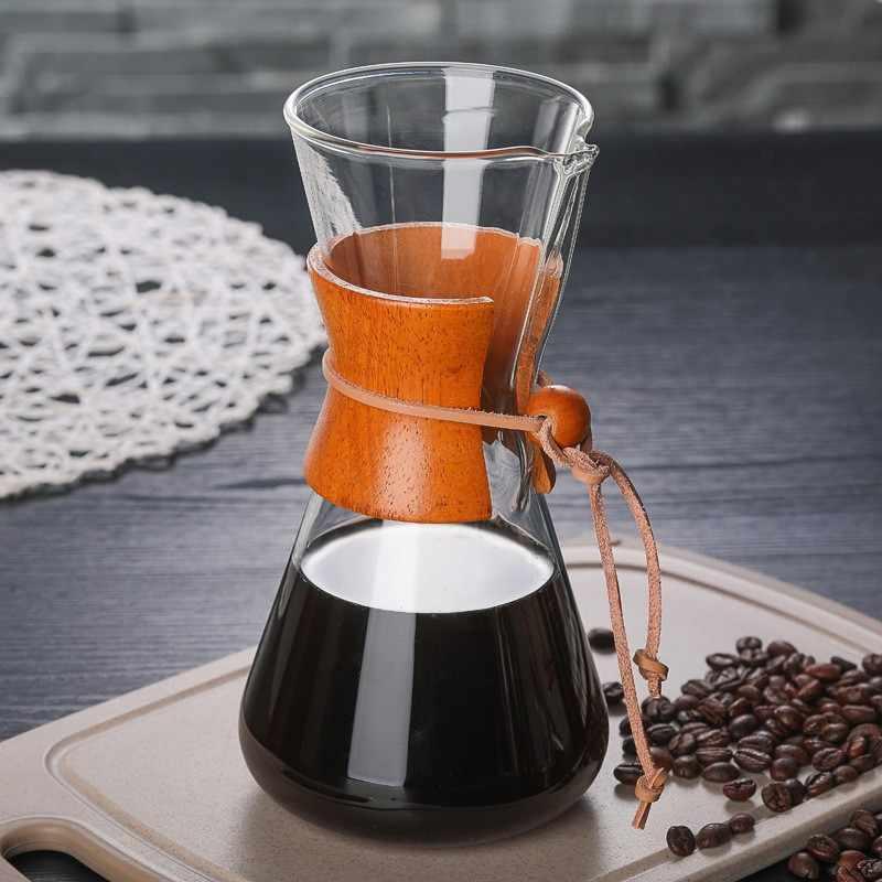 2019 Potes de Café de Vidro Resistente Ao Calor Cafeteira Clássico Despeje Sobre Cafeteira de Aço Inoxidável Pote de Café Por Gotejamento Filtro de Café