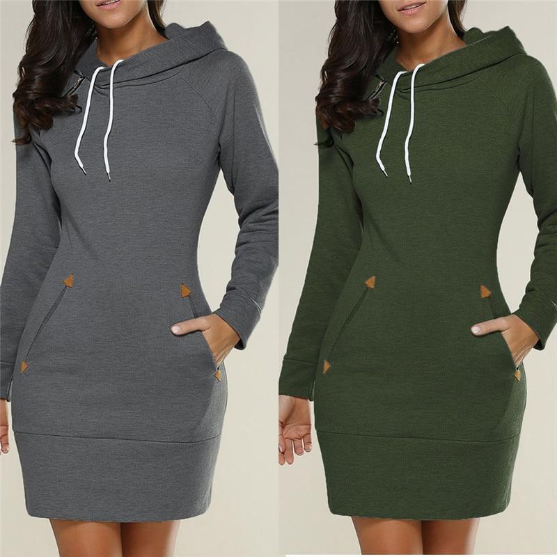 Hoodies Dress Women 2019 Autumn Winter Sweatshirts Long Sleeve Hooded Pockets Sweatshirt Hoody Pullovers Dresses Tops Moletom