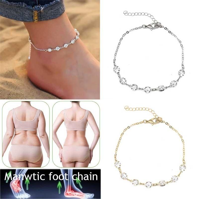 אופנה קריסטל צמיד זהב וכסף ירידה במשקל טיפול מגנטי קרסול הרזיה מוצרי הרזיה בריאות תכשיטים