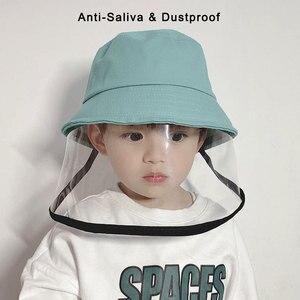 Image 1 - Детская Защитная Рыбацкая шляпа с защитой от брызг, Пыленепроницаемая несъемная маска, Детская однотонная шапка для отдыха на открытом воздухе, путешествий