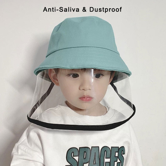 Детская Защитная Рыбацкая шляпа с защитой от брызг, Пыленепроницаемая несъемная маска, Детская однотонная шапка для отдыха на открытом воздухе, путешествий