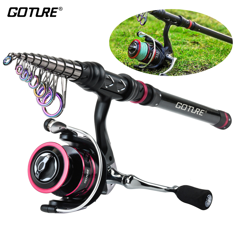 Goture Rod Combo Fishing-Reel Spinning Telescopic Metal with 2000-4000 Vara-De-Pesca title=