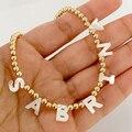 Ожерелье ручной работы с бисером и именем на заказ модное простое золотистое серебристое ожерелье-чокер с бисером индивидуальные аксессуа...
