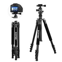 ZOMEI Q555 SLR Tripod Lightweight Aluminum Alloy Portable Travel Camera Tripod DSLR Camera Carrying Case