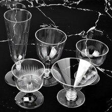 50 шт одноразовые шампанка из пластика красный винный коктейль стеклянный светильник десертные чашки для пудинга праздничный свадебный сувенир по изготовлению крышек для пластиковых стаканчиков