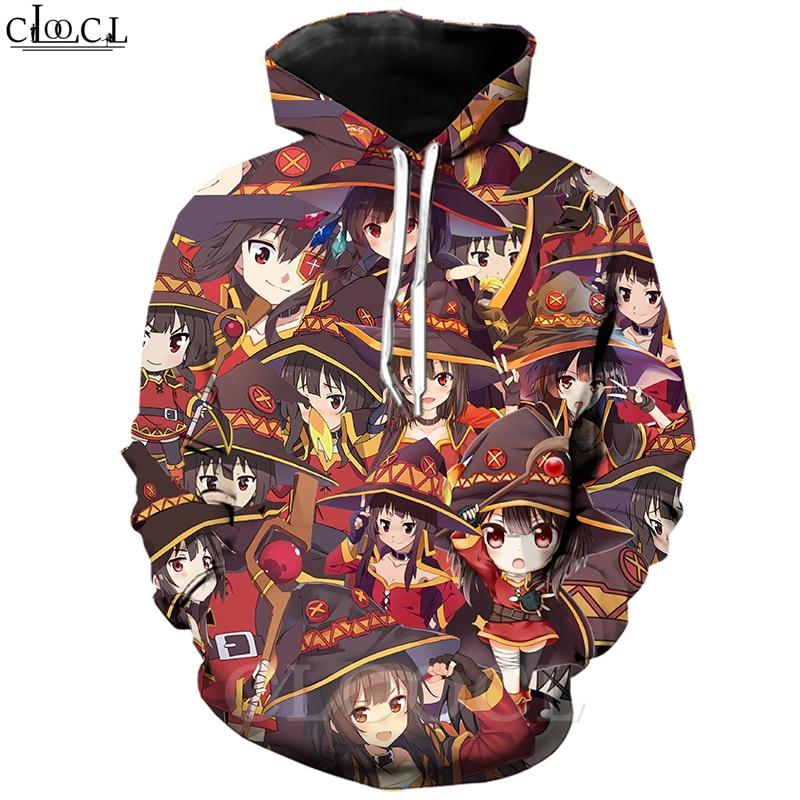 Classic Anime Girl Megumin Konosuba Hoodies 3D Print Men Women Autumn Jogging Sportswear Casual Streetwear T461