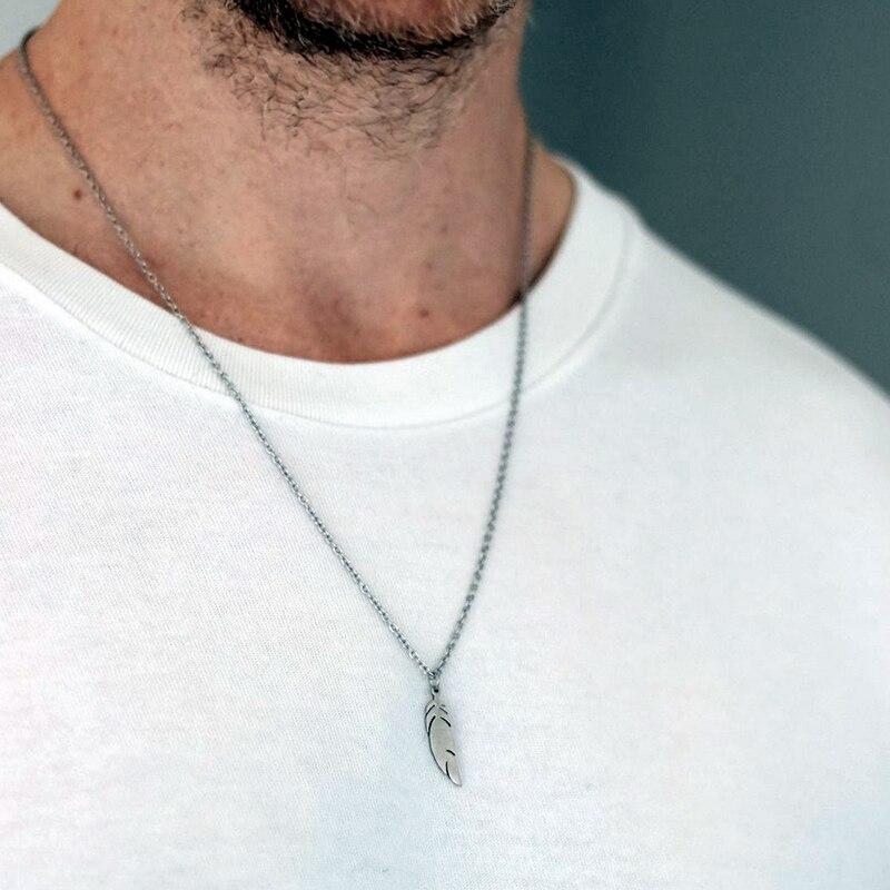 Ожерелье с перьями, цепочка из нержавеющей стали, ожерелье для женщин и мужчин, простая Длинная цепочка, кулон с перьями, ожерелье, эффектные пары, ювелирные изделия|Ожерелья с подвеской|   | АлиЭкспресс