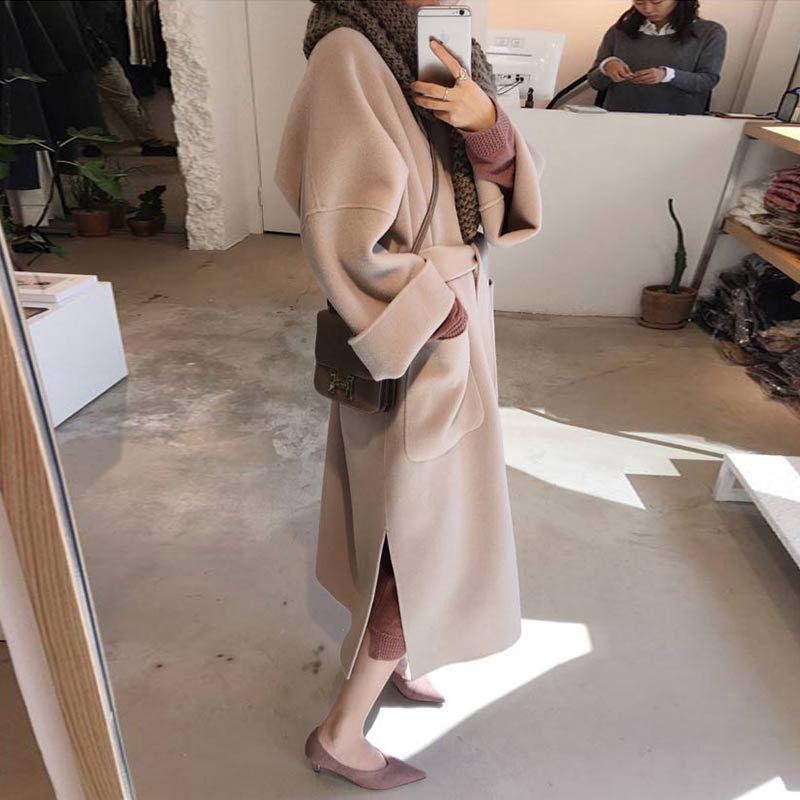 Coat Female 2019 Autumn Women Vintage Turn-Down Collar Wool Coat Casual Winter Beige Coat Women Belt Temperament Long Coa